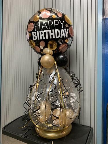 Kadoballon Verjaardag Goud Zwart met folieballon bovenop
