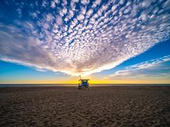 Lifeguard Tower Malibu Beach Brilliant Sunset Zuma Beach Red Yellow Orange Clouds Fuji GFX100 Fine Art Landscape Seascape Ocean Art! Elliot McGucken Nature Photography! Master Medium Format Fine Art Photographer! Fujifilm GFX 100 & Fujifilm FUJINON Lens!