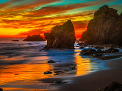 Beautiful Malibu Beach Brilliant Sunset El Matador State Beach Red Yellow Orange Clouds Fuji GFX100 Fine Art Landscape Seascape Ocean Art! Landscape Nature Photography! Master Medium Format Fine Art Photographer! Fujifilm GFX 100 & Fujifilm FUJINON Lens!