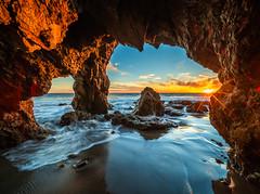 Malibu Beach Sea Cave Brilliant Sunset El Matador State Beach Red Yellow Orange Clouds Fuji GFX100 Fine Art Landscape! Elliot McGucken Landscape Nature Photography! Master Medium Format Fine Art Photographer! Fujifilm GFX 100 & Fujifilm FUJINON Lens!