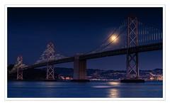 Bay Bridge and Cold Moon at Twilight