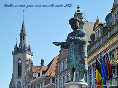Tournai autour de la grand place.-  Meilleurs vœux pour 2021 et une bonne santé. aux amis