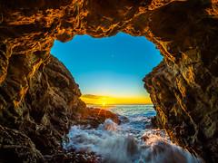 Malibu Beach Sea Cave Brilliant Sunset Leo Carillo State Beach Red Yellow Glow Blue Sky Fuji GFX100 Fine Art Landscape Ocean Art Seascape! Elliot McGucken Landscape Nature Photography! Master Medium Format Fine Art Photographer! Fujifilm GFX 100 & Fujifil