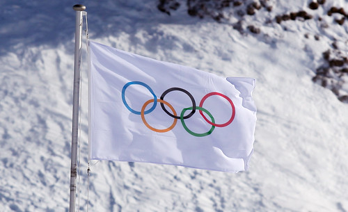 Olympic Flag at the Villars Park in Switzerland