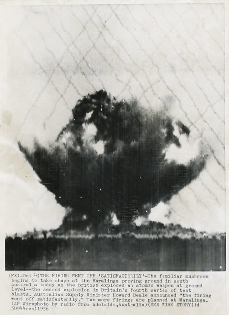 Photo:Wirephoto - Maralinga Nuclear Test By rocbolt