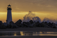 Walton Lighthouse Sunrise High Tide Santa Cruz California 01