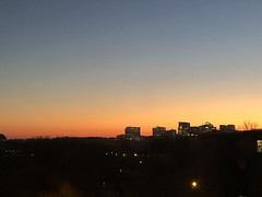 Winter sunset, view to Rosslyn skyline from Georgetown, Washington, D.C.