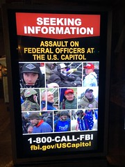 Seeking Information, Assault on Federal Officers at U.S. Capitol: sign at bus stop, Washington, D.C.
