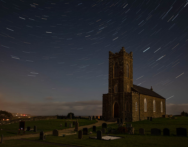 Photo:Moonlit star trails over Tamlaghtard Parish Church, Magilligan By john.purvis