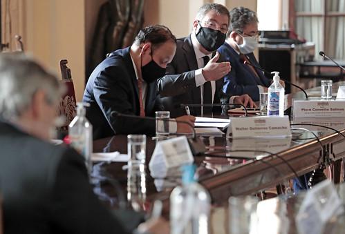 El presidente de la república  Francisco Sagasti lideró la sesión del Consejo de Estado, que reunió en esta ocasión a autoridades electorales para evaluar medidas frente al COVID-19 durante la campaña electoral respetando los protocolos sanitarios establecidos.