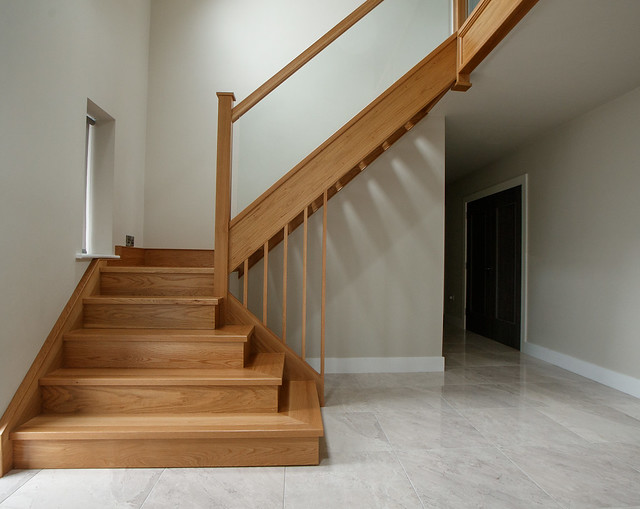 White Oak Closed String Stairs