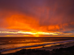 Malibu Beach Brilliant Red Orange Yellow Sunset Leo Carillo State Beach Fuji GFX100 Fine Art Landscape Ocean Art Seascape! Master Medium Format Fine Art Photographer! Fujifilm GFX 100 & Fujifilm FUJINON GF 32-64mm f/4 R Lm Wr Wide-Angle Zoom Lens