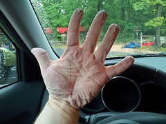 Wrinkled hands following tubing adventure