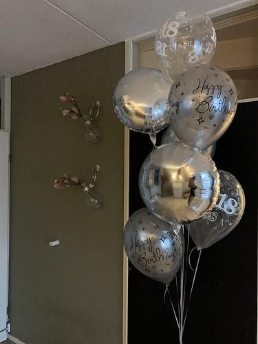 Ballonboeket Verjaardag 18 Jaar Zilver