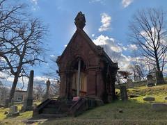 Linthicum-Dent mausoleum against the sky, Oak Hill Cemetery, Georgetown, Washington, D.C.