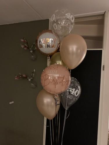 Ballonboeket Verjaardag 40 Jaar Rose Goud