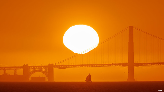 Photo:Golden Gate Bridge at Sunset By davidyuweb