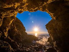 Malibu Beach Sea Cave Brilliant Sunset Leo Carillo State Beach Red Yellow Glow Blue Sky Fuji GFX100 Fine Art Landscape Ocean Art Seascape! McGucken Landscape Nature Art! Master Medium Format Fine Art Photographer! Fujifilm GFX 100 & Fujifilm FUJINON Lens!