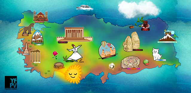 Photo:Famous locations of Turkey on the map By maximumgore
