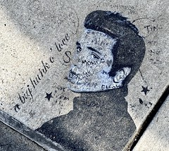 On the sidewalk painted by an Elvis fan.