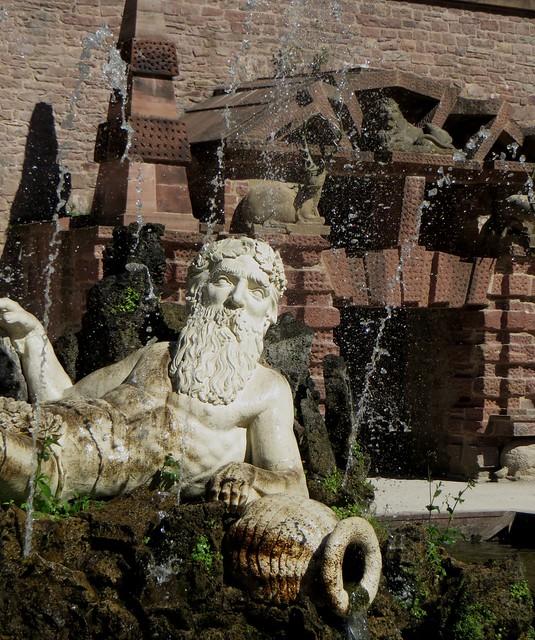 Photo:Neptune, Hortus Palatinus, château des électeurs palatins, Heidelberg, Bade-Wurtemberg, République fédérale d'Allemagne. By byb64