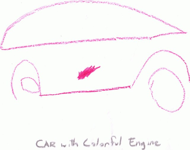 Car with colorful enging