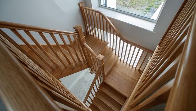 White Oak Cut String Stairs
