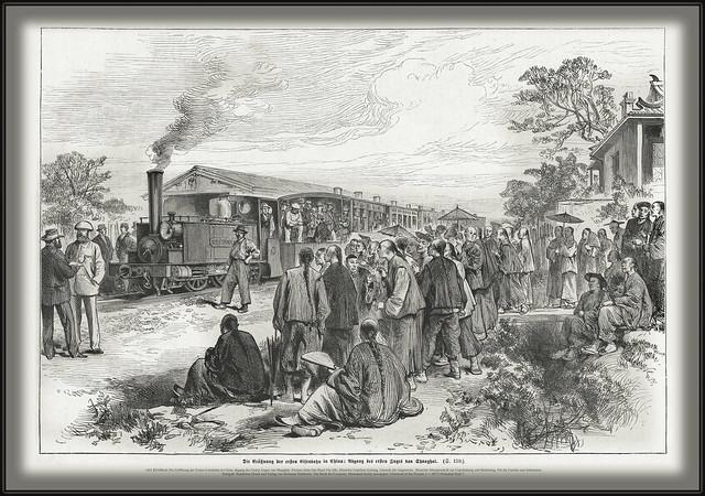s161 8216 Buch Die Eröffnung der Ersten Eisenbahn in China, abgang des Ersten Zuges von Shanghai.