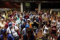 Crowds exiting Vienna station on July 4