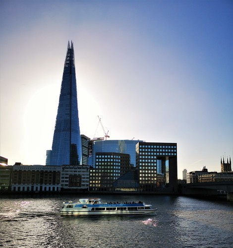 The Shard and a passing River cruiser