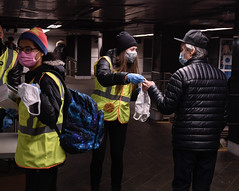 MTA Mask Force Hands Out Free Masks to Customers