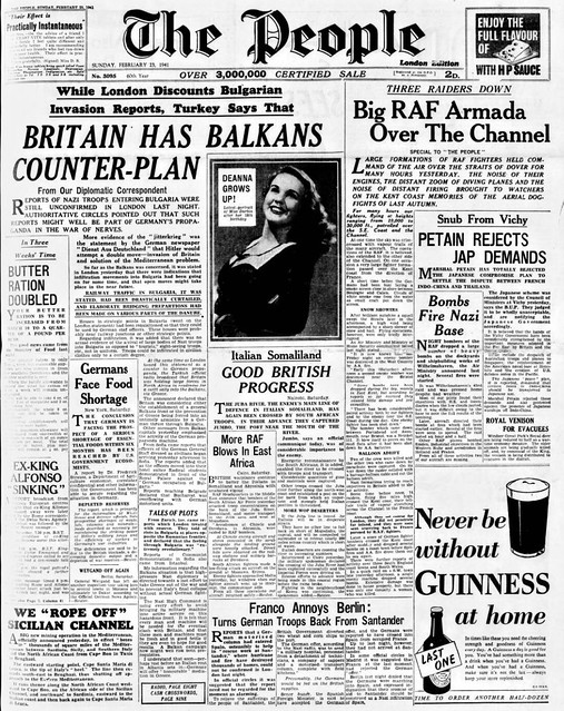 Photo:23rd February 1941 - Britain has Balkans counter plan - Big RAF armada over the Channel By Bradford Timeline
