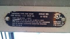 Fire door rating label