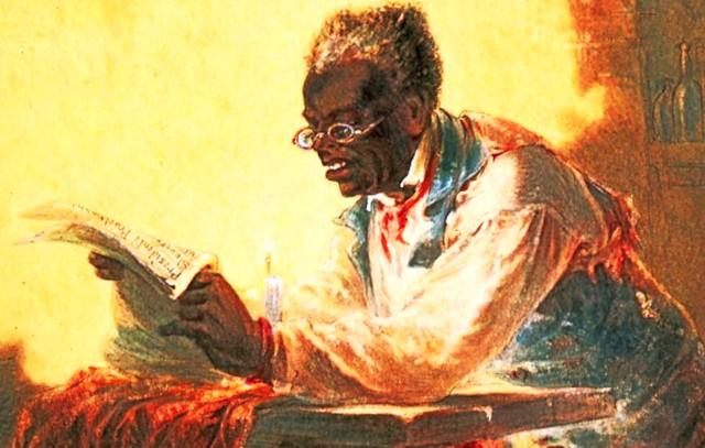 Photo:357. HLJ2 Black man reading newspaper by candlelight By Jim Surkamp