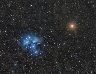 Blue Pleiades and Red Mars