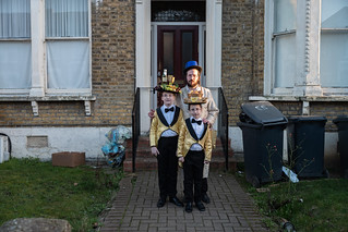 'Of withered leaves about your feet And newspapers from vacant lots; The showers beat  On broken blinds and chimney-pots ' from Preludes, T.S. Eliot. street of North East London on the occasion of Purim.