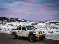 Jeep Gladiator Rubicon Truck Pink Sunrise Red Orange Yellow Clouds Yellowstone National Park Winter Fuji GFX100 Fine Art Landscape Photography! Gardiner Gateway to Yellowstone! Fujifilm GFX 100 & FUJINON Fujifilm GF 45-100mm F4 OIS Mid Range Zoom Lens!