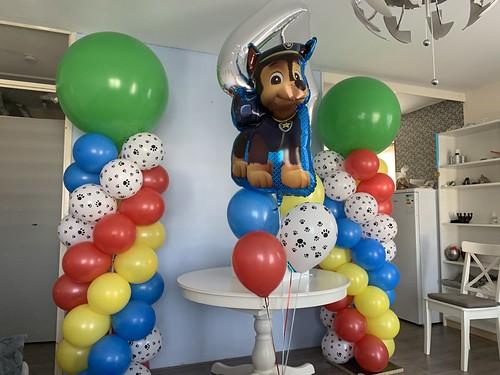 Ballonpilaar Breed Rond Ballonboeket Verjaardag 4 Jaar Paw Patrol