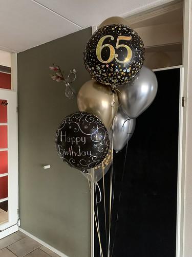 Ballonboeket Verjaardag 65 Jaar Chrome