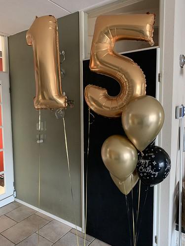 Ballonboeket Verjaardag 15 Jaar Chrome