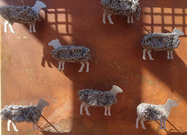 Photo:Loxton. On the River Murray . A town based on wheat  and sheep farmers and horticulturalists and viticulturalists. Street sculpture of sheep with steel wool.. By denisbin