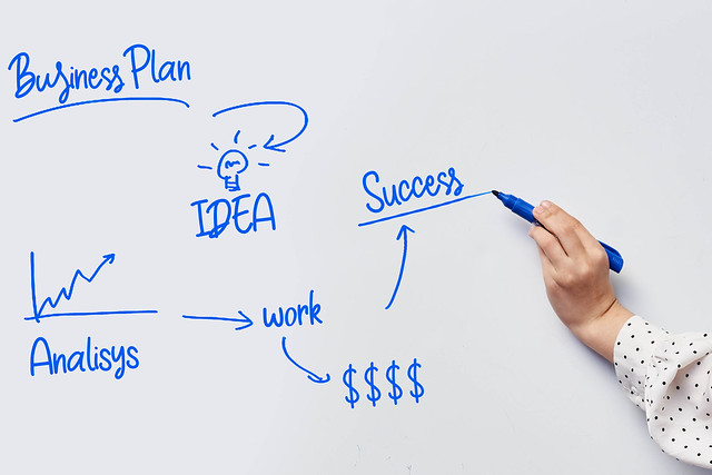Photo:Writing business plan steps on the whiteboard By wuestenigel