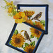 "Quilted Trivets (2) Set #1   $25  Sunflowers and Bird.  7.5"" Square.   Click here for more info,"