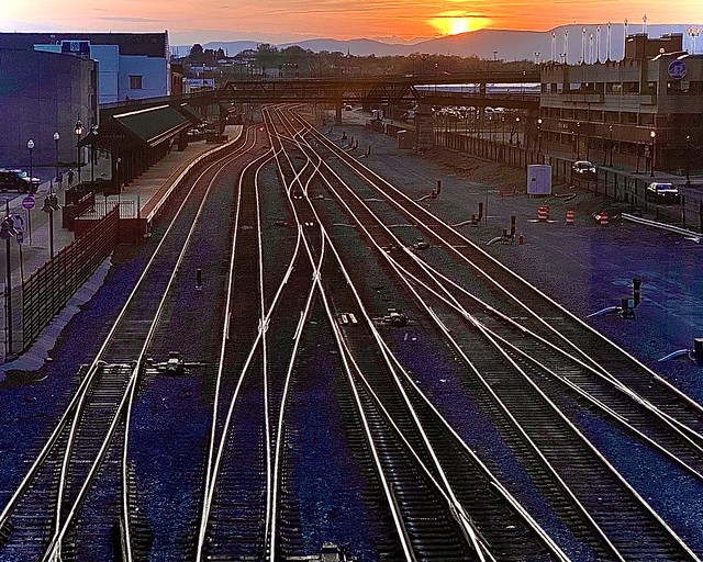 Photo:Rail yard in downtown Roanoke Virginia at sunset. By Southern Merlund guy