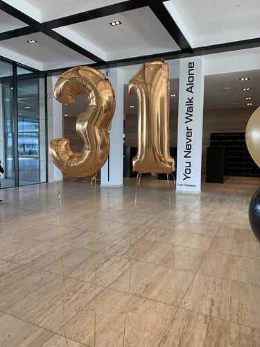 Folieballon Cijfer 31 Verjaardag Lee Towers Rotterdam