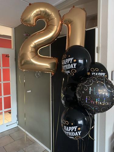 Ballonboeket Verjaardag 21 Jaar Zwart Goud