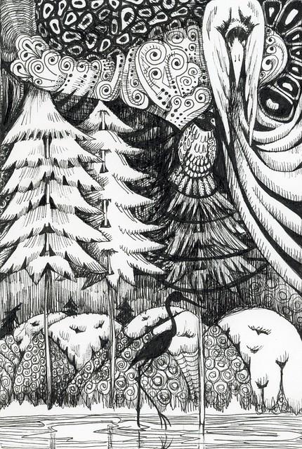 Photo:Egret and Bigger Bird By Life Imitates Doodles