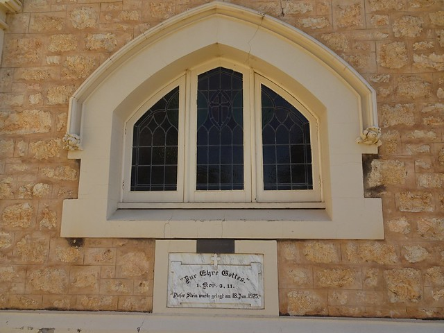 Photo:Loxton. In the Riverland. The foundation stone of the 1925 built St Peters Lutheran Church all written in old German script. By denisbin