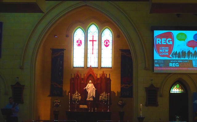 Photo:Loxton. In the Riverland. The altar of the 1925 built St Peters Lutheran Church. It holds two services for up to 200 people every Sunday morning.. By denisbin