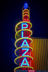 The iconic sign of the Plaza Theater in Garland, Texas
